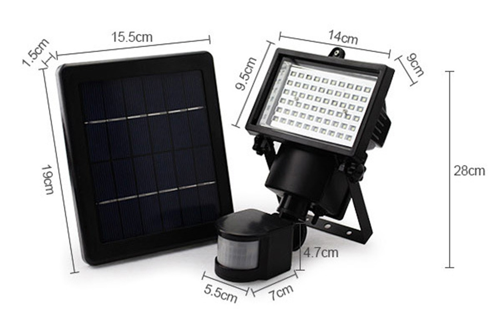 SL - 60 LED Super Bright Waterproof Solar Powered PIR Motion Detector Door Wall Lamp