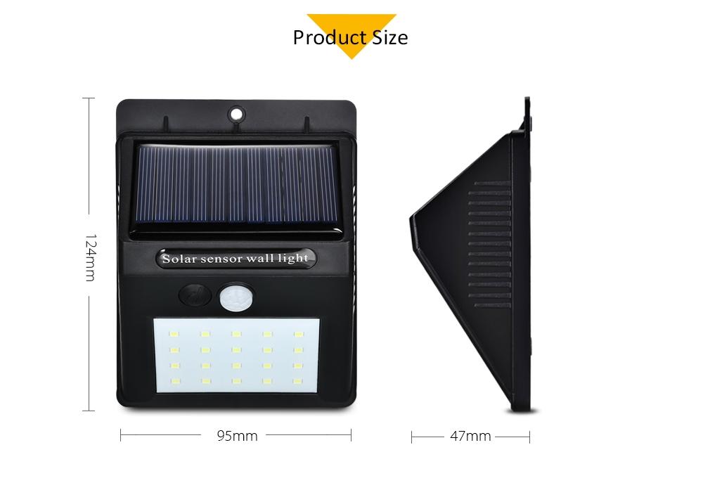Generic 20 Led Solar Light Wall Lamp Pir Motion Sensor