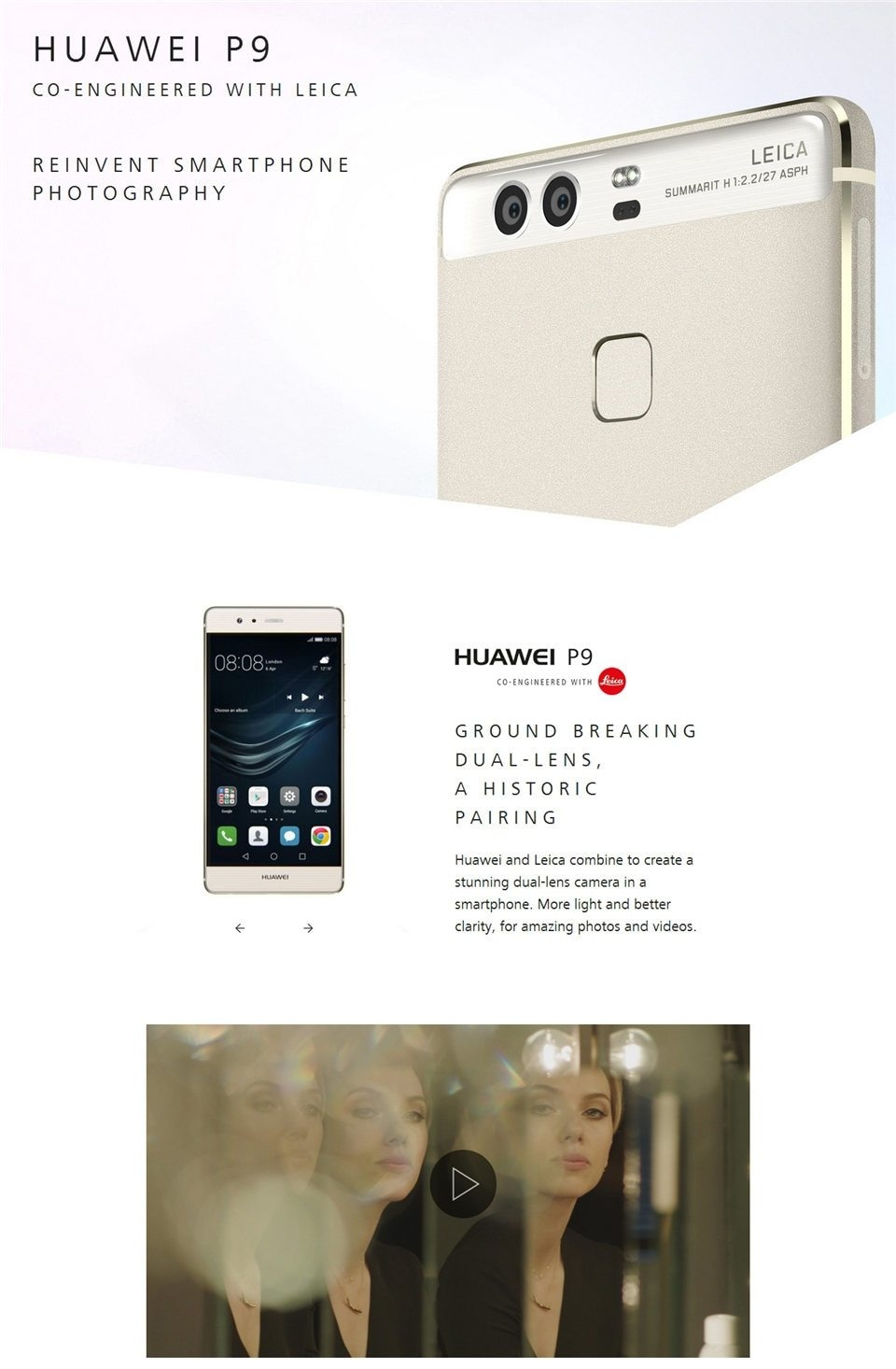 "Huawei P9 3GB RAM 32GB ROM 5.2""FHD 1920X1080 Fingerprint Mobile Phone 12MP*2 Hisilicon  99%New Used gold 3"