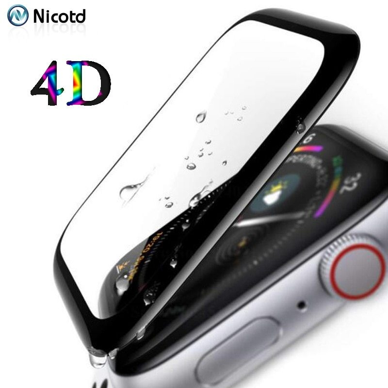 For i Watch Series 4 40mm 44mm 4D Tempered Glass Film For Apple Watch 4 Series 44 40 Curved Screen Protector Film (5)