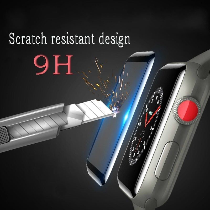 For i Watch Series 4 40mm 44mm 4D Tempered Glass Film For Apple Watch 4 Series 44 40 Curved Screen Protector Film (2)