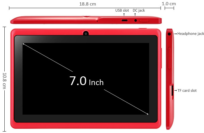 7 inch Q88H A33 Android 4.4 Tablet PC WVGA Screen A33 Quad Core 1.2GHz 512MB RAM 8GB ROM Dual Cameras