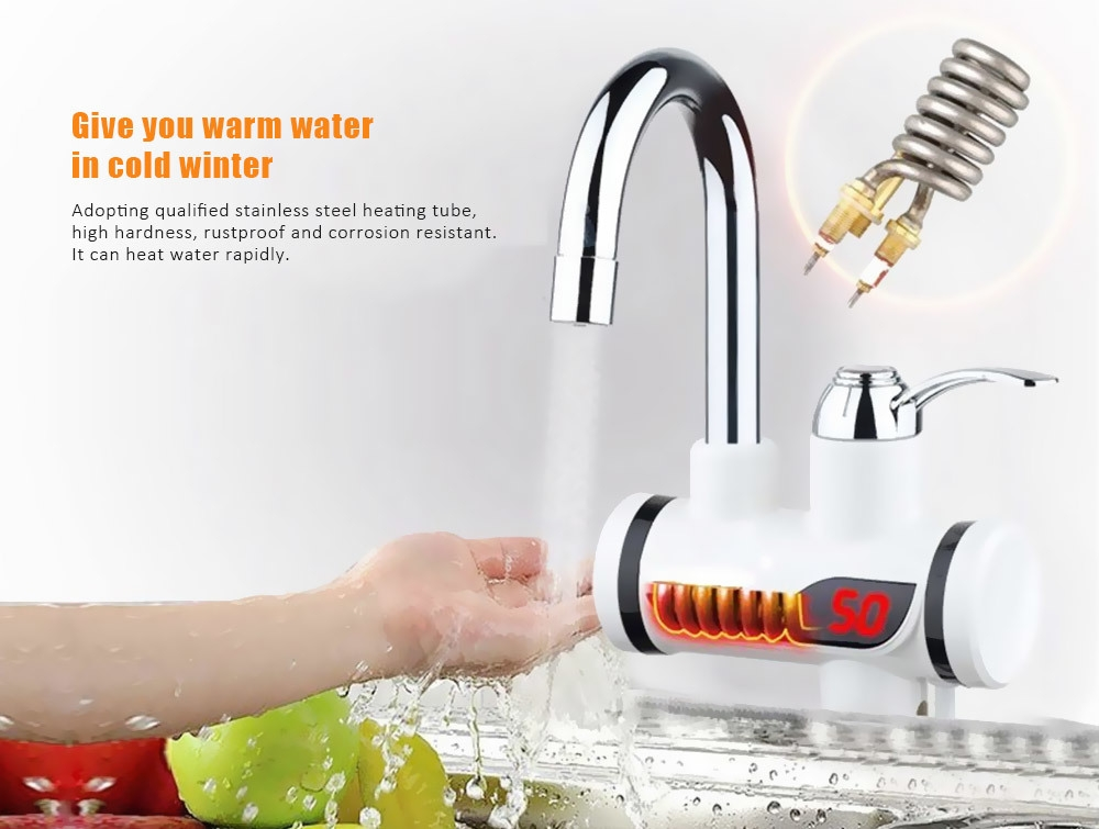 Electric Instant 3 Seconds Heating Hot Cold Dual-use Digital Display Temperature Faucet