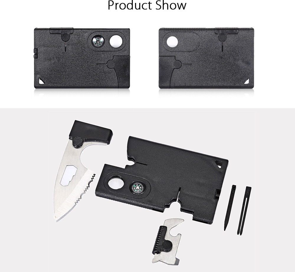 10 in 1 Multifunction Tactical Credit Card Outdoor Survival Hunting Camping Tool Magnifying Glass Compass Knife