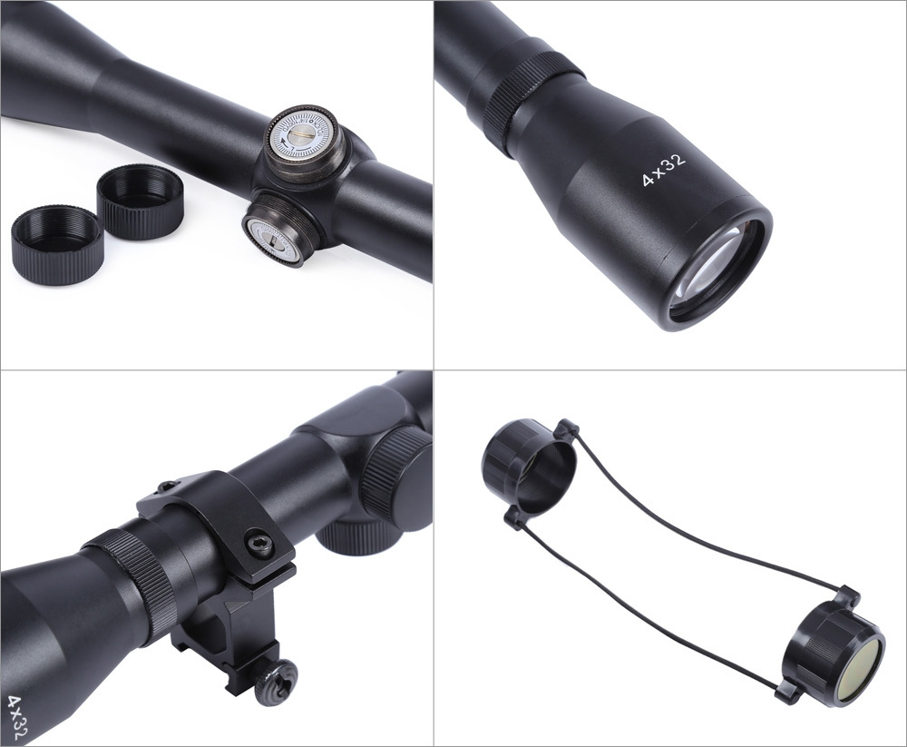 Tactical 4X32 Optics Sniper Riflescope Reviews Sight Hunting Scope for Rifle