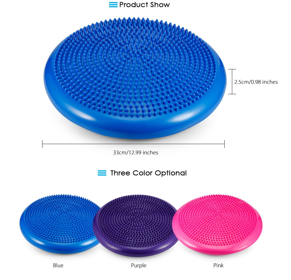 1pcs Durable Inflatable Yoga Wobble Stability Balance Disc Massage Cushion Mat