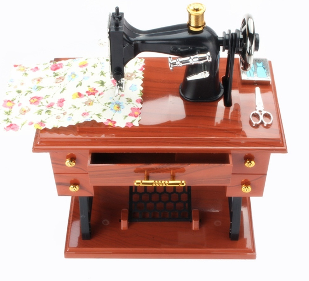 Retro Vintage Sewing Machine Music Box Birthday Gift Home Decoration