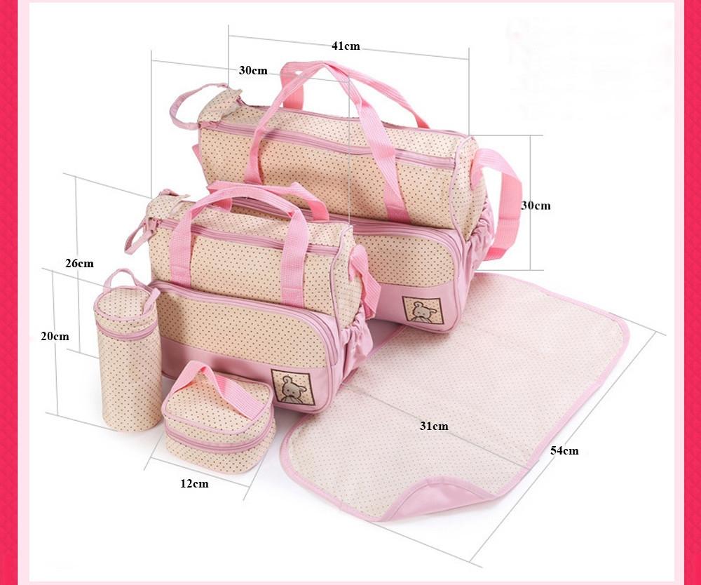 5pcs Multifunctional Dot Babies Nappy Changing Mummy Handbag Diaper Pad Feeding Bottle Holder Food Bag