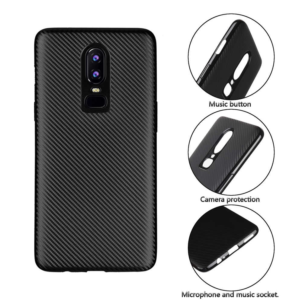 competitive price ddaa6 0887b Tpu Soft Carbon Fiber Back Shell For Oneplus 6 Mobile Phone
