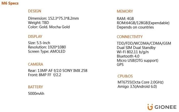 Gionee M6 specs on Jumia