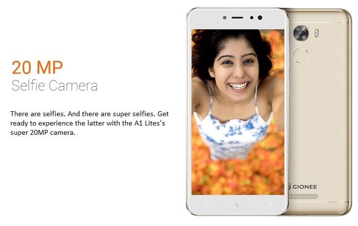 Gionee A1 lite 20MP selfie camera