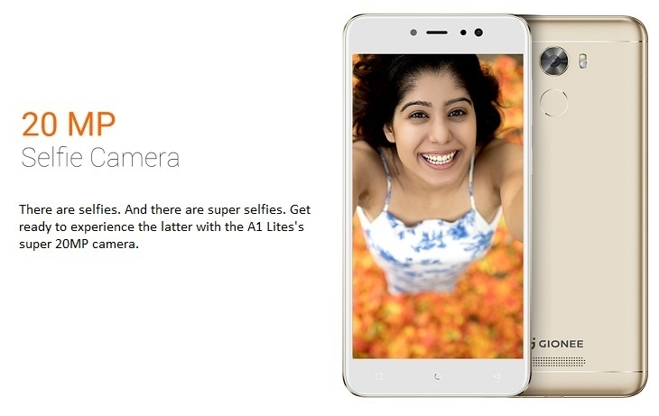 Gionee A1 lite 20MP selfie camera
