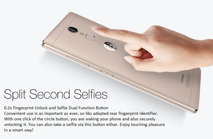 Gionee S6s finger print and selfie dual