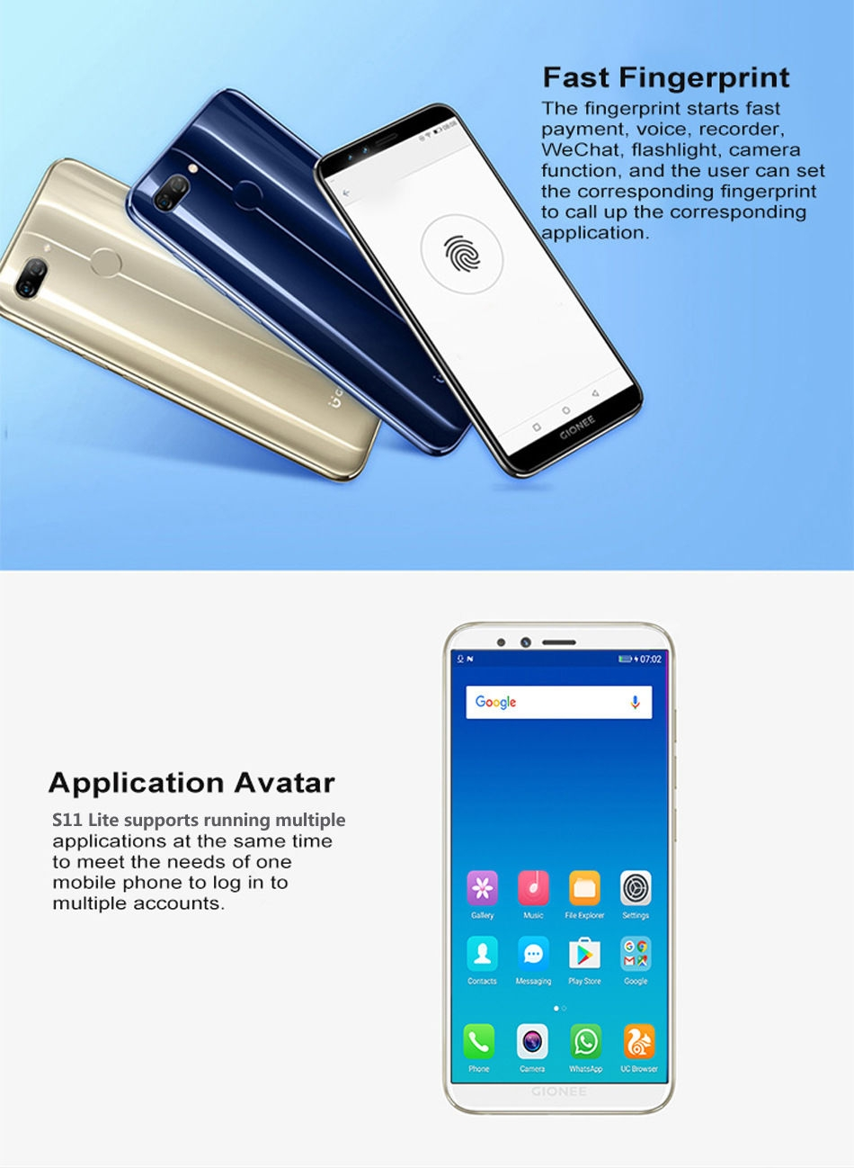 Gionee S11 Lite 5 7-Inch HD (4GB,64GB ROM) Android 7 1 (13MP