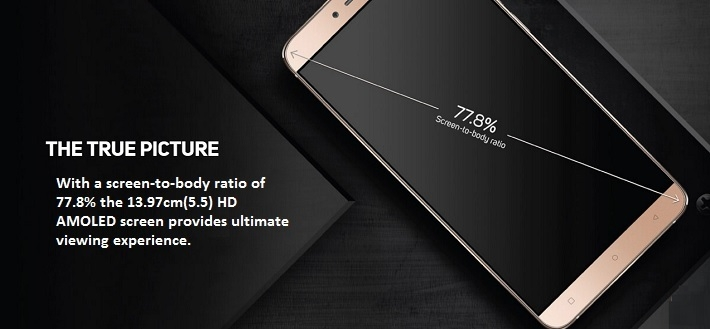 Gionee S6 Android Smartphone screen-to-body ratio