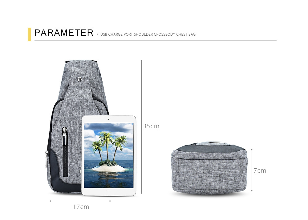 Guapabien Casual USB Charge Port Cable Shoulder Crossbody Chest Bag