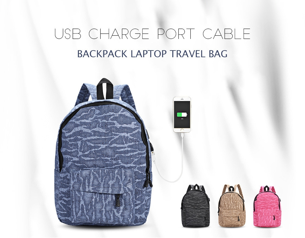 Guapabien External USB Charge Port Cable Backpack Laptop Travel Bag
