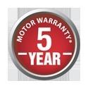 5 Year warranty on motor