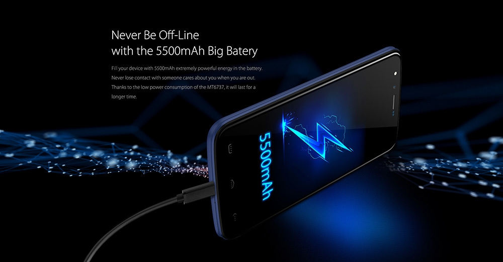HOMTOM HT50 4G Phablet Android 7.0 5.5 inch MTK6737 Quad Core 1.3GHz 3GB RAM 32GB ROM 8.0MP + 8.0MP Cameras 5500mAh Battery Fingerprint Touch Sensor