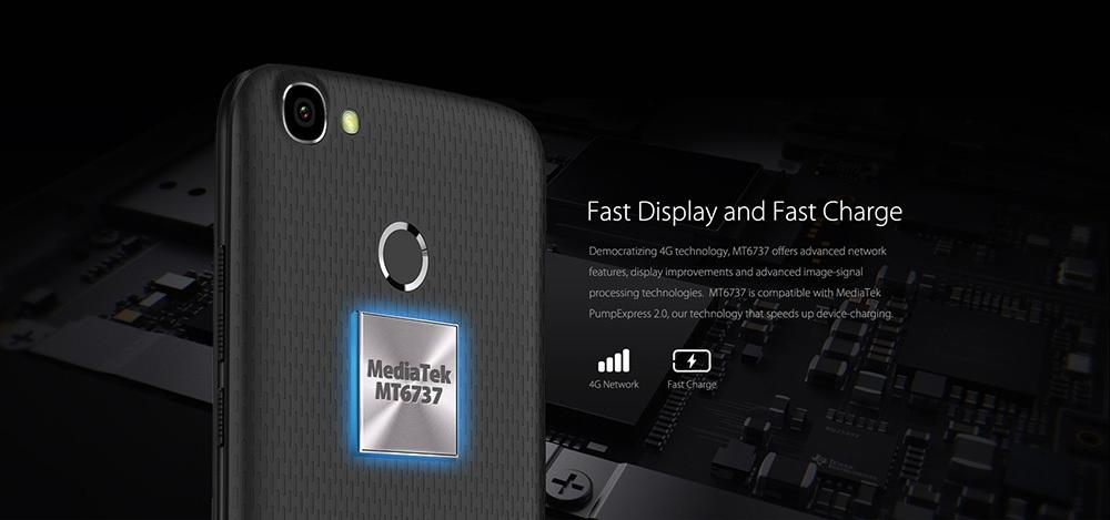 HOMTOM HT50 4G Phablet Android 7.0 5.5 inch MTK6737 Quad Core 1.3GHz 3GB RAM 32GB ROM 8.0MP + 8.0MP Cameras 5500mAh Battery Fingerprint Touch Sensor