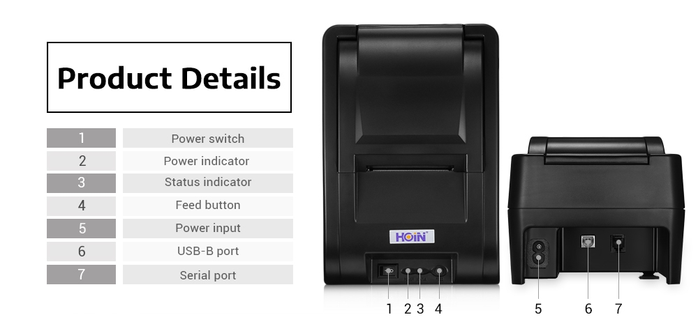 HOIN HOP - H58 Wireless 58mm USB Bluetooth Thermal Printer Support Voice Prompt