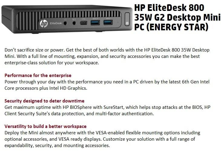 EliteDesk 800 G2 Small Form Factor Business PC (Part # F5D5) – Intel Core  I3, 4GB RAM, 500GB HDD, DVDRW, Windows 10 Pro - Black