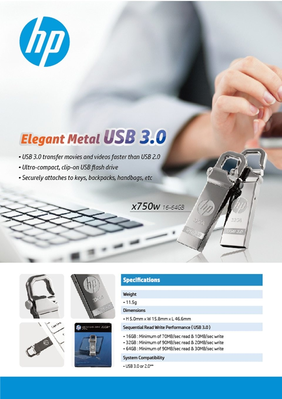 HP x750w USB Flash Drive USB 3.0  32GB 16GB  High Speed Elegant Metal USB Stick 16gb Pendrive Flash Drive Customized Logo Pen drive   (5)