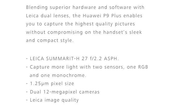 Huawei P9 Plus 12 MP camera