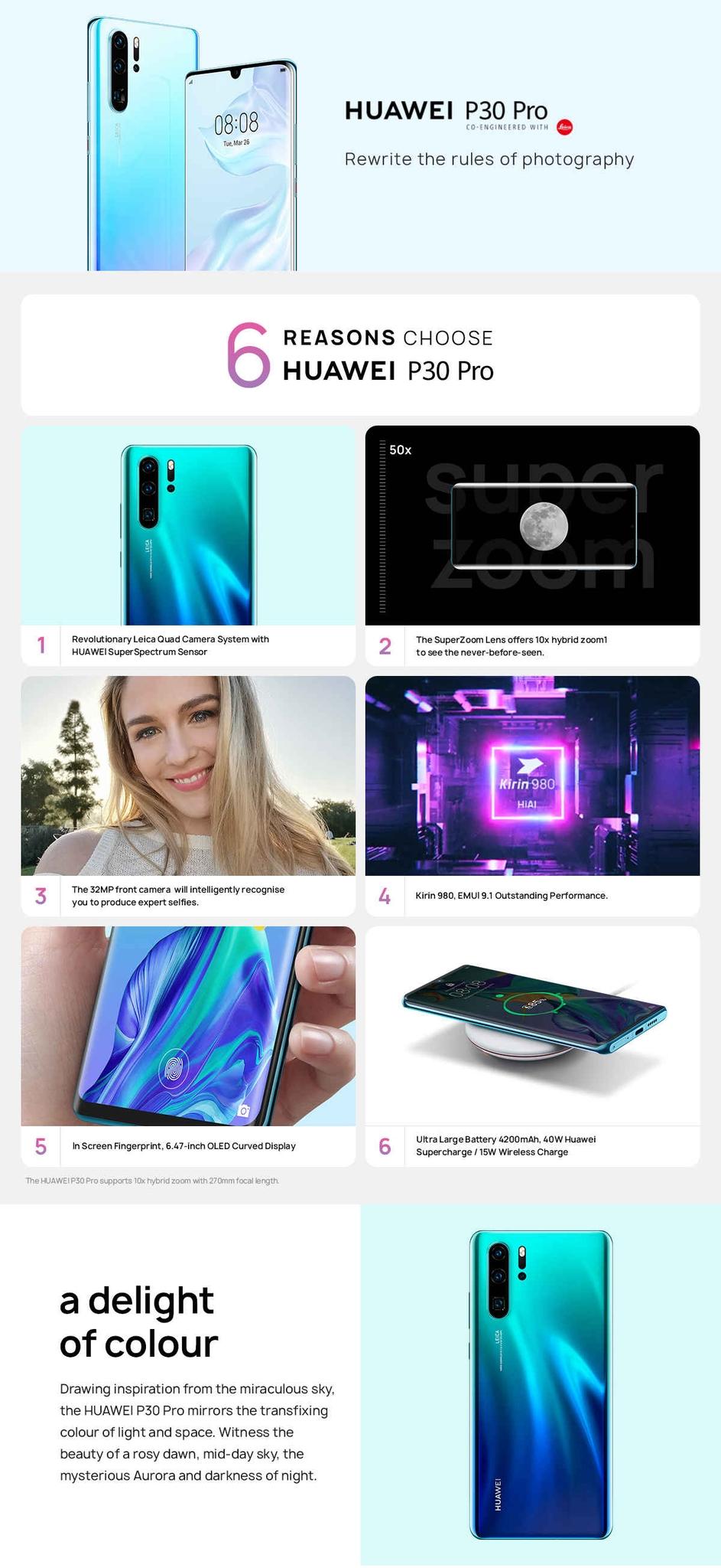 P30 Pro 6 47-Inch (8GB RAM + 256GB ROM) Android 9 0,40MP + 20MP + 8MP, Dual  SIM - Aurora