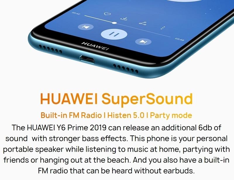 Y6 Prime 2019 6 09-Inch HD+ Dewdrop (2GB,32GB ROM) Android 9 0 Pie, 13MP +  8MP Dual SIM 4G 3020mAh Smartphone - Midnight Black