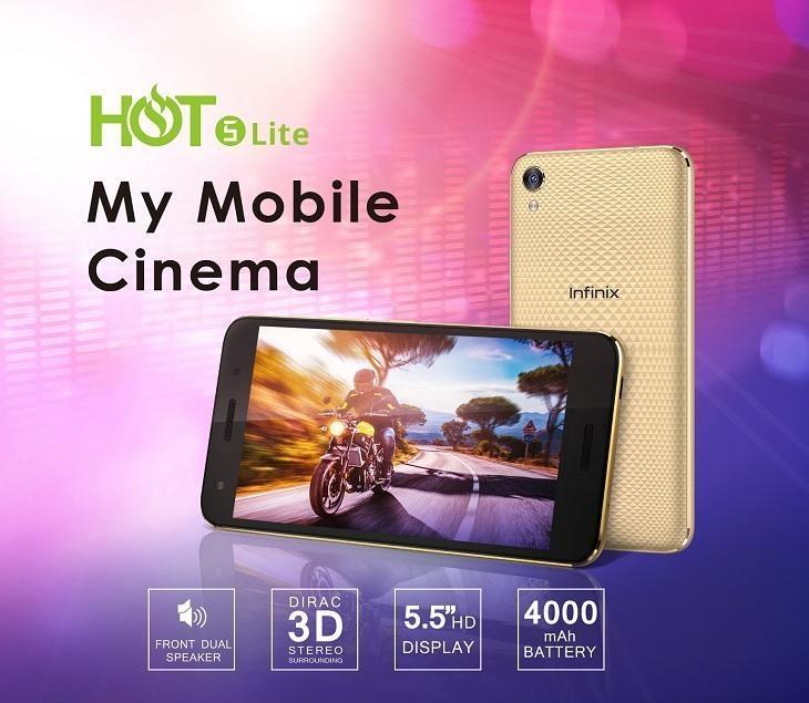 Infinix Hot 5 Lite (X559) 5 5-Inch HD (1GB RAM, 16GB ROM) Android 7 Nougat,  8MP + 5MP Dual SIM 3G Smartphone - Luxurious Gold