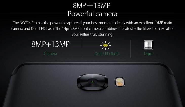 Infinix Note 4 Pro 8MP 13MP Camera