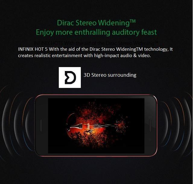Infinix Hot 5 (X559c) 5 5-Inch HD (2GB, 16GB ROM) Android 7, 8MP + 5MP Dual  SIM 3G Smartphone - Sandstone Black