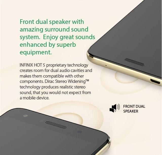 infinix Hot 5 (X559c) dual speakers