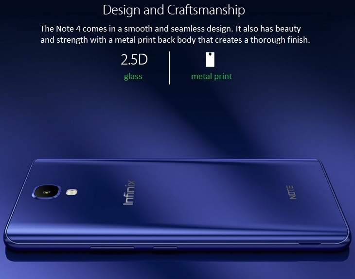 Infinix Note 4 2.5d glass and metal print