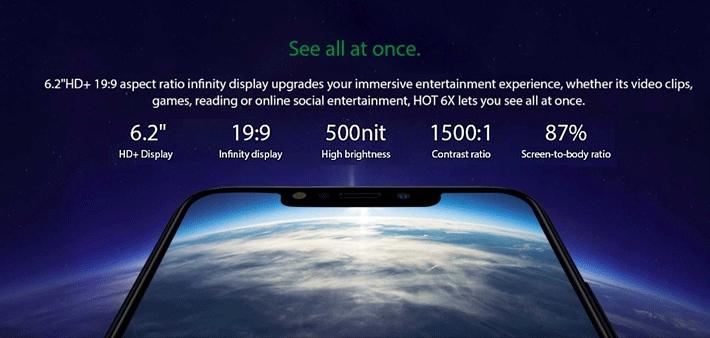 Infinix Hot 6X (X623) 6 2-Inch HD+ (3GB RAM, 32GB ROM) Android 8 1  Oreo,(13MP + 2MP)+ 8MP 4G Lte Dual Sim Smartphone - - Midnight  BlackMidnight Black