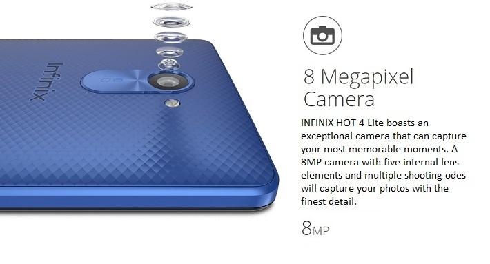 Infinix Hot 4 Lite camera specs