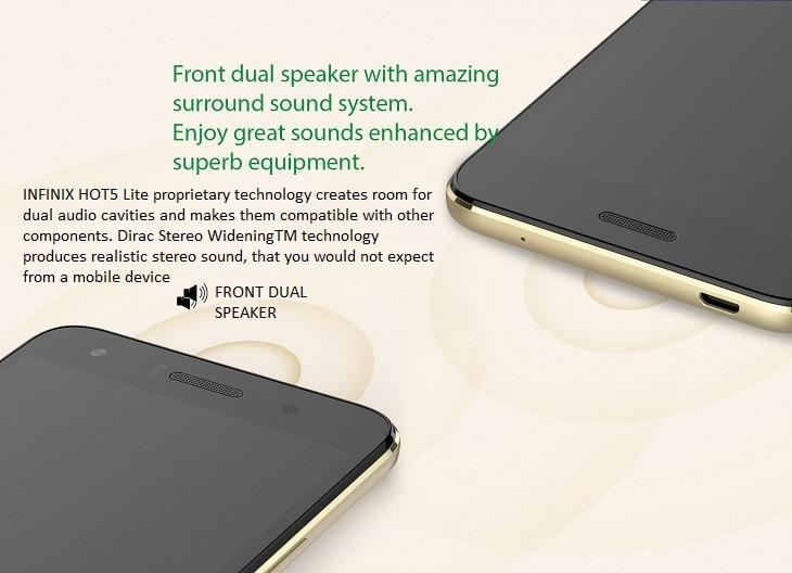 Infinix Hot 5 Lite dual speakers