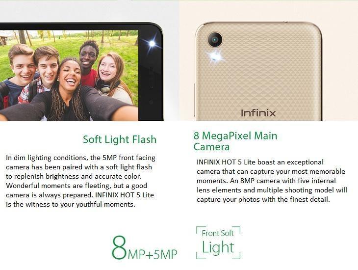 Infinix Hot 5 Lite 8MP + 5MP Cameras