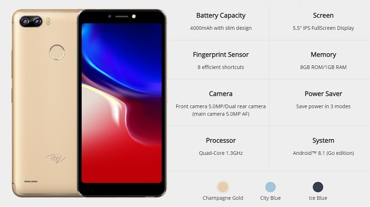 itel p32 android go specifications