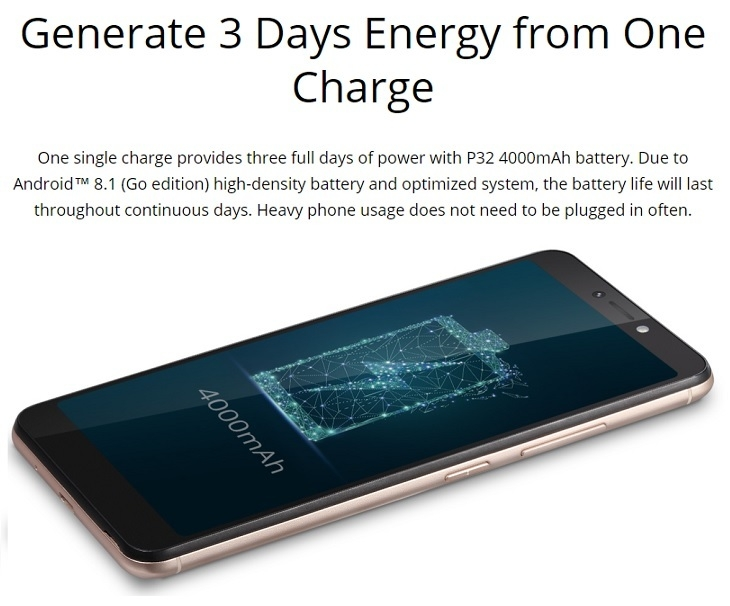 itel p32 android go 4000mah battery