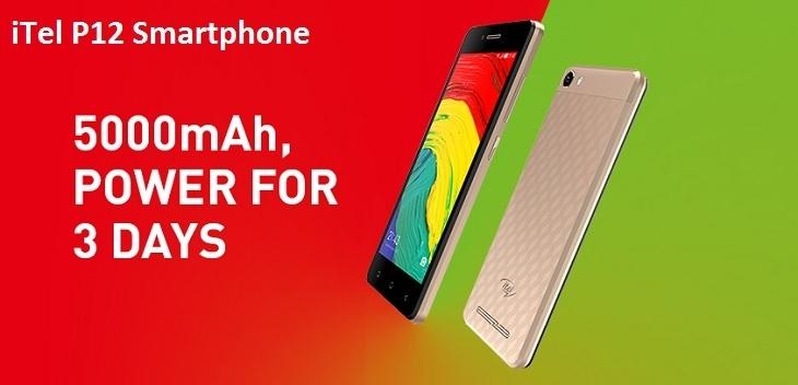Itel P12 smartphone 5000mah battery