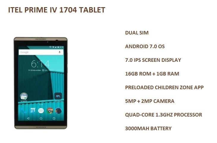 itel prime IV 1704 tablet best price nigeria