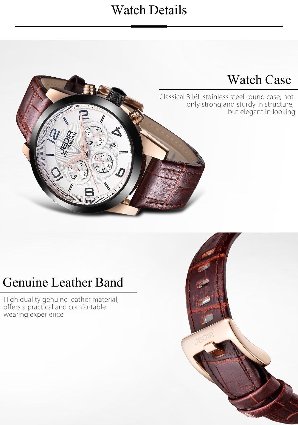 JEDIR 2025 Male Quartz Watch 24 Hours System Chronograph Men Wristwatch