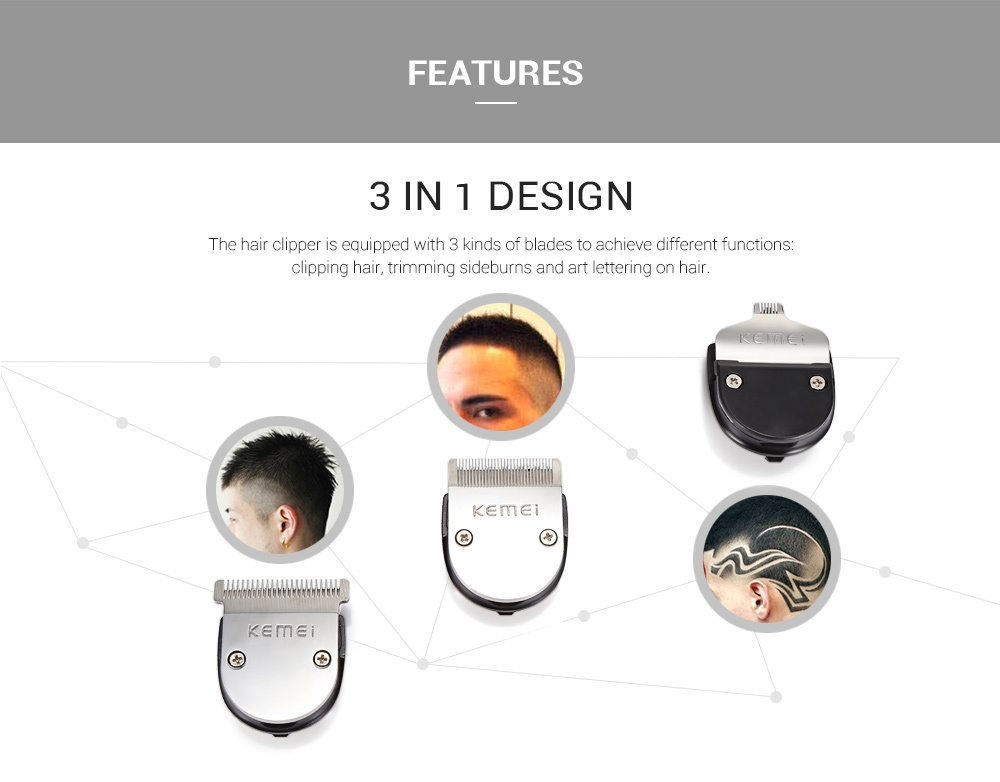 Kemei KM - 3007 3 in 1 Powerful Electric Hair Clipper Styling Haircut Trimmer