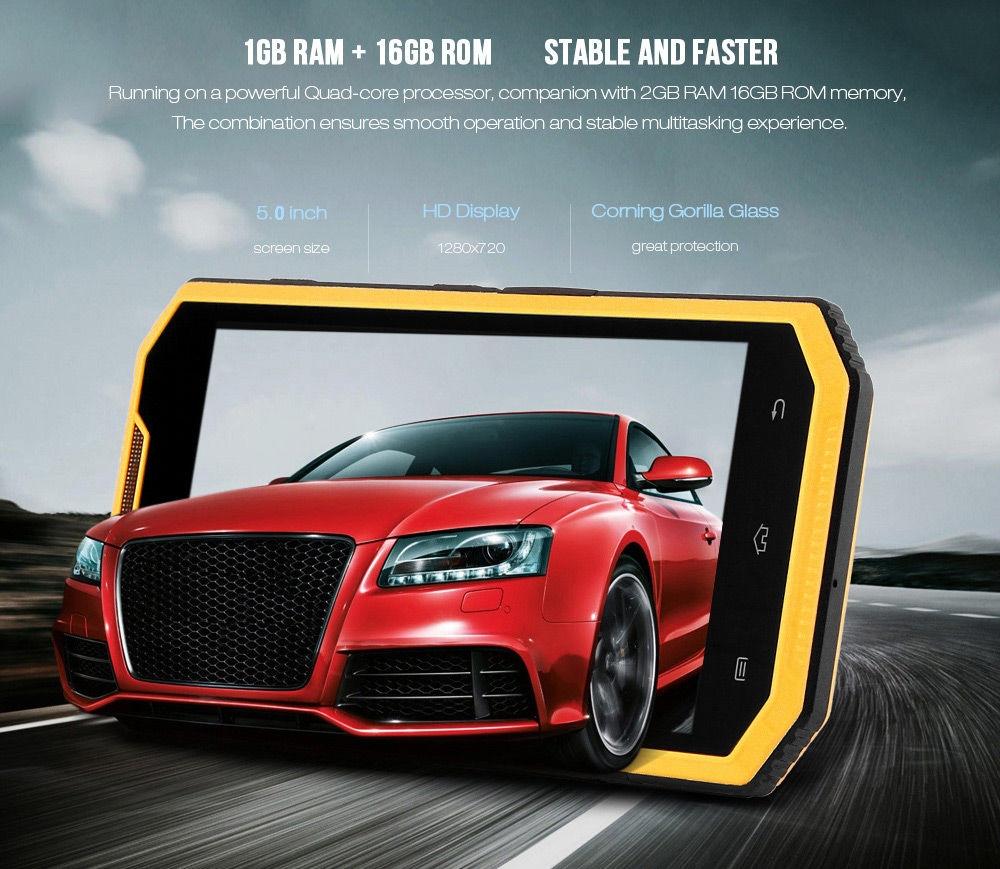Ken Xin Da W7 5.0 inch Android 6.0 4G Smartphone MTK6735 Quad Core 1.3GHz 1GB RAM 16GB ROM Corning Gorilla Glass 3 Screen GPS IP68 Waterproof Shockproof Dustproof