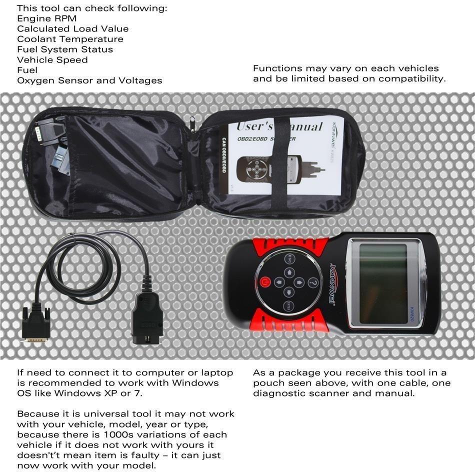 Konnwei KW820 Car Scanner Tool EOBD OBD2 OBDII Diagnostic Code Reader Check  Engine Scan By BDZ