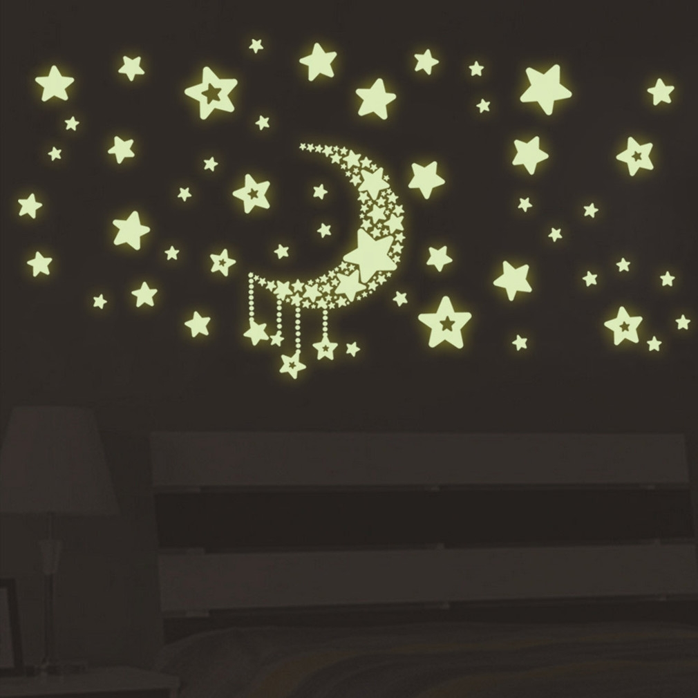 Kokobuy DIY Night Light Glow In The Dark Moon Stars Wall Stickers Home  Decor Decals