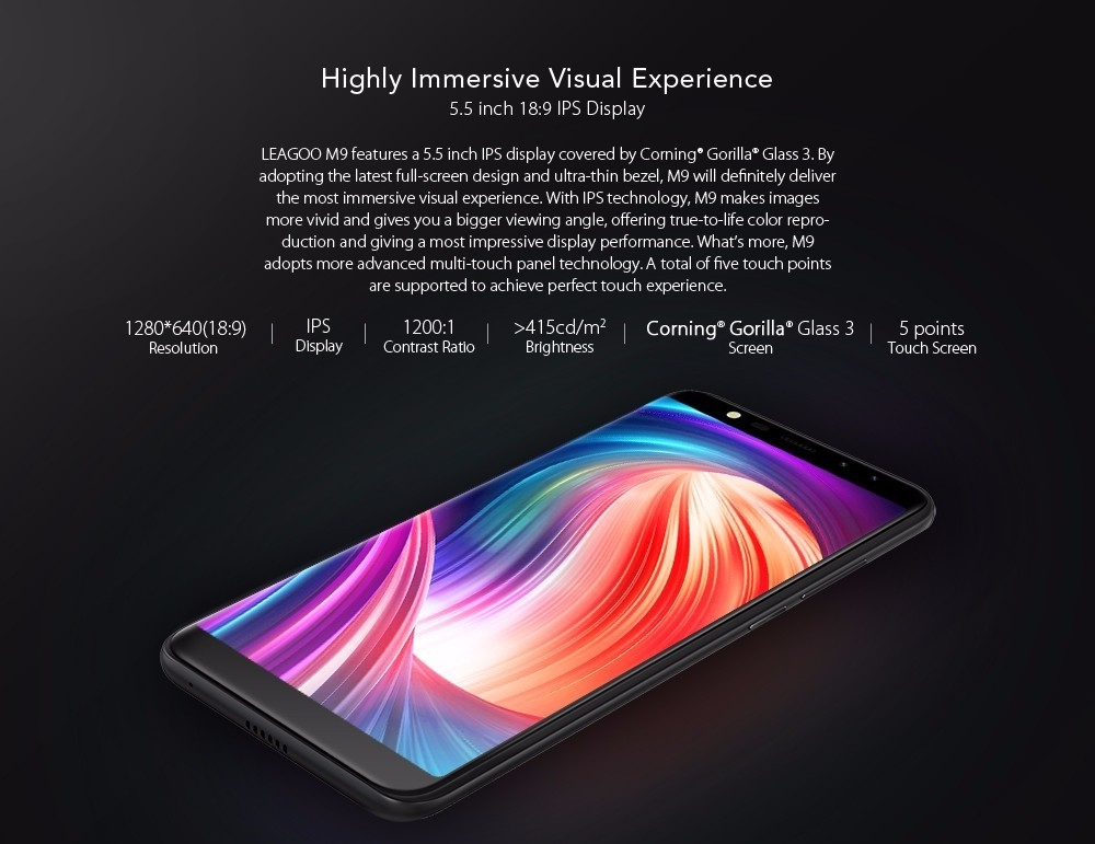LEAGOO M9 3G Phablet 5.5 inch Android 7.0 MTK6580A Quad Core 1.3GHz 2GB RAM 16GB ROM Quad Cameras Fingerprint Scanner Corning Gorilla Glass 3 Screen