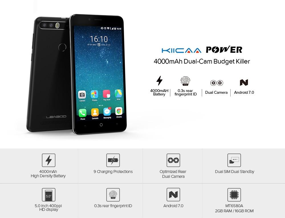 LEAGOO KIICAA POWER 3G Smartphone 5.0 inch Android 7.0 MTK6580A Quad Core 1.3GHz 2GB RAM 16GB ROM 4000mAh Battery 5.0MP + 8.0MP Dual Rear Cameras Light Sensor
